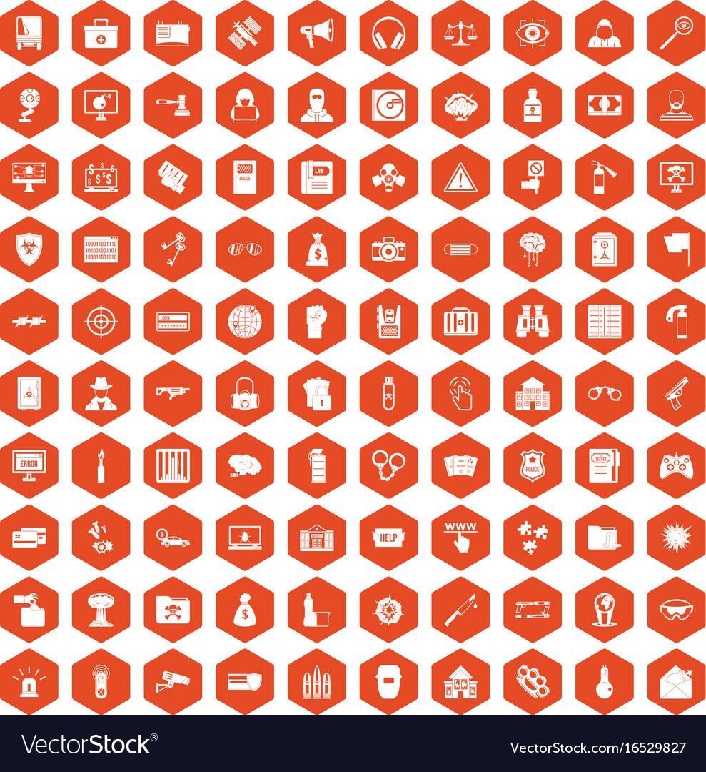 100 hacking icons hexagon orange vector image