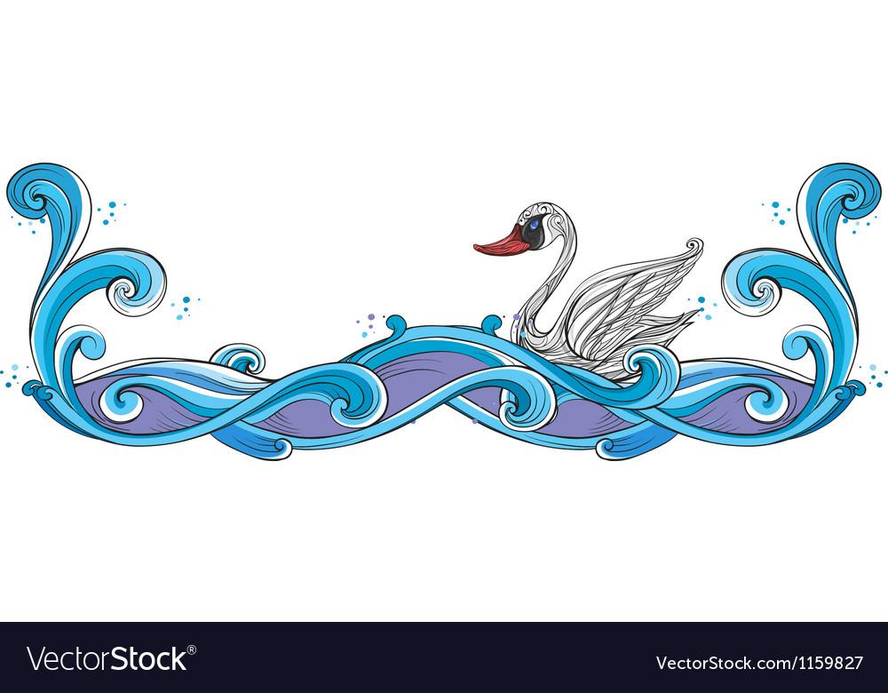 A swan border design vector image