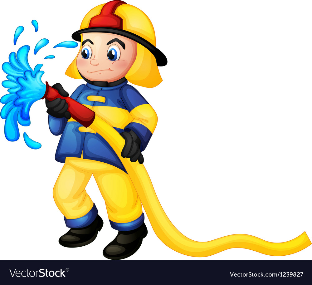 A fireman holding a yellow water hose vector image