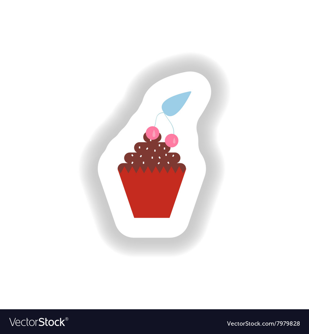 Stylish paper sticker cupcake with cream and
