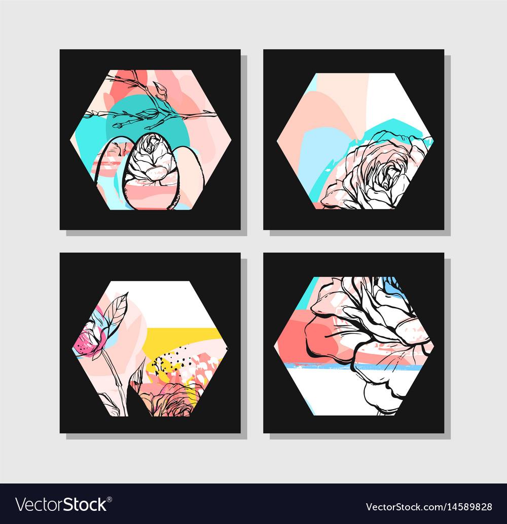 Hand drawn abstract creative unusual modern vector image