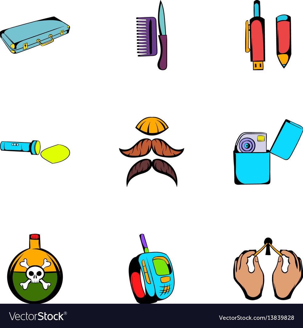 Keeker icons set cartoon style vector image