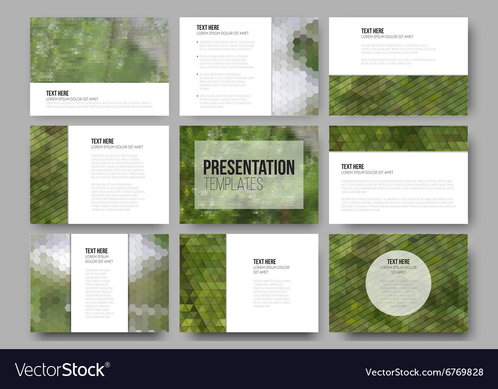 Set of 9 templates for presentation slides Nature vector image
