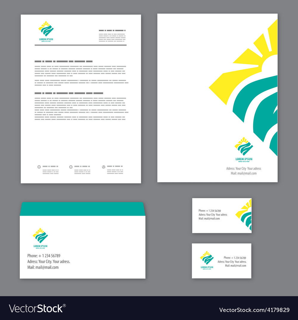 corporate identity template tourism royalty free vector, Powerpoint templates