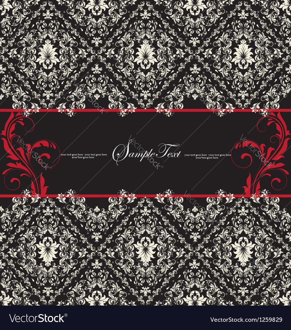 Damask wedding card vector image