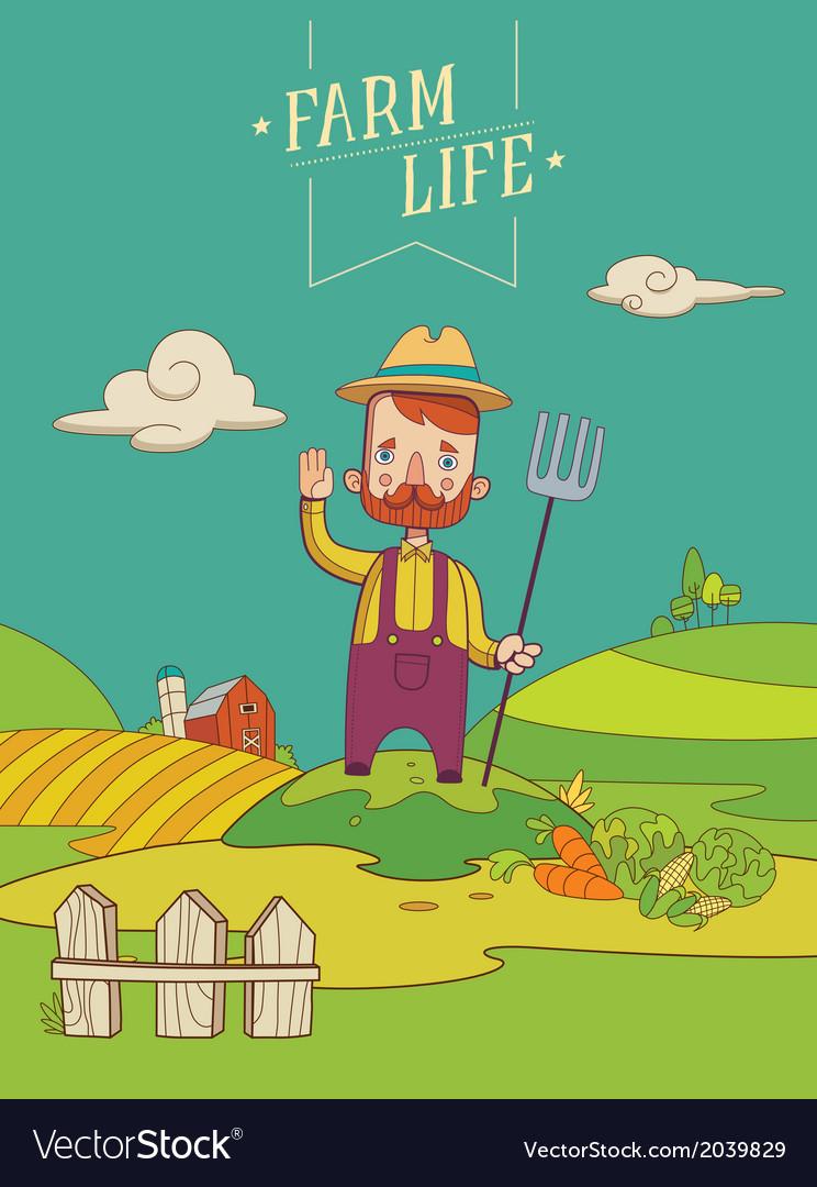 Friendly Healthy Farmer vector image