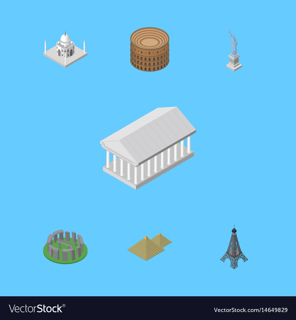 Isometric architecture set of egypt coliseum vector image