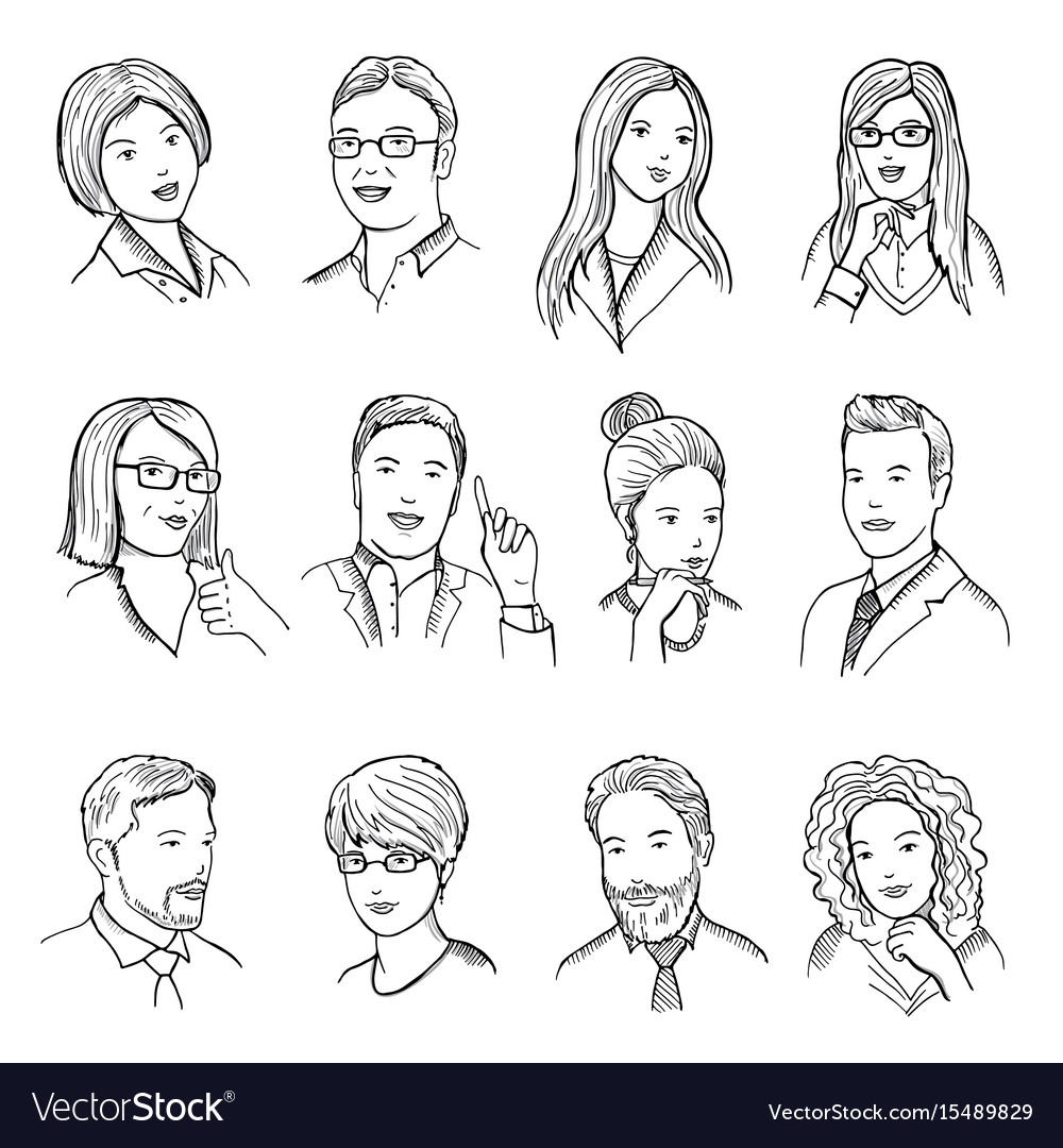 Male and female hand drawn for vector image