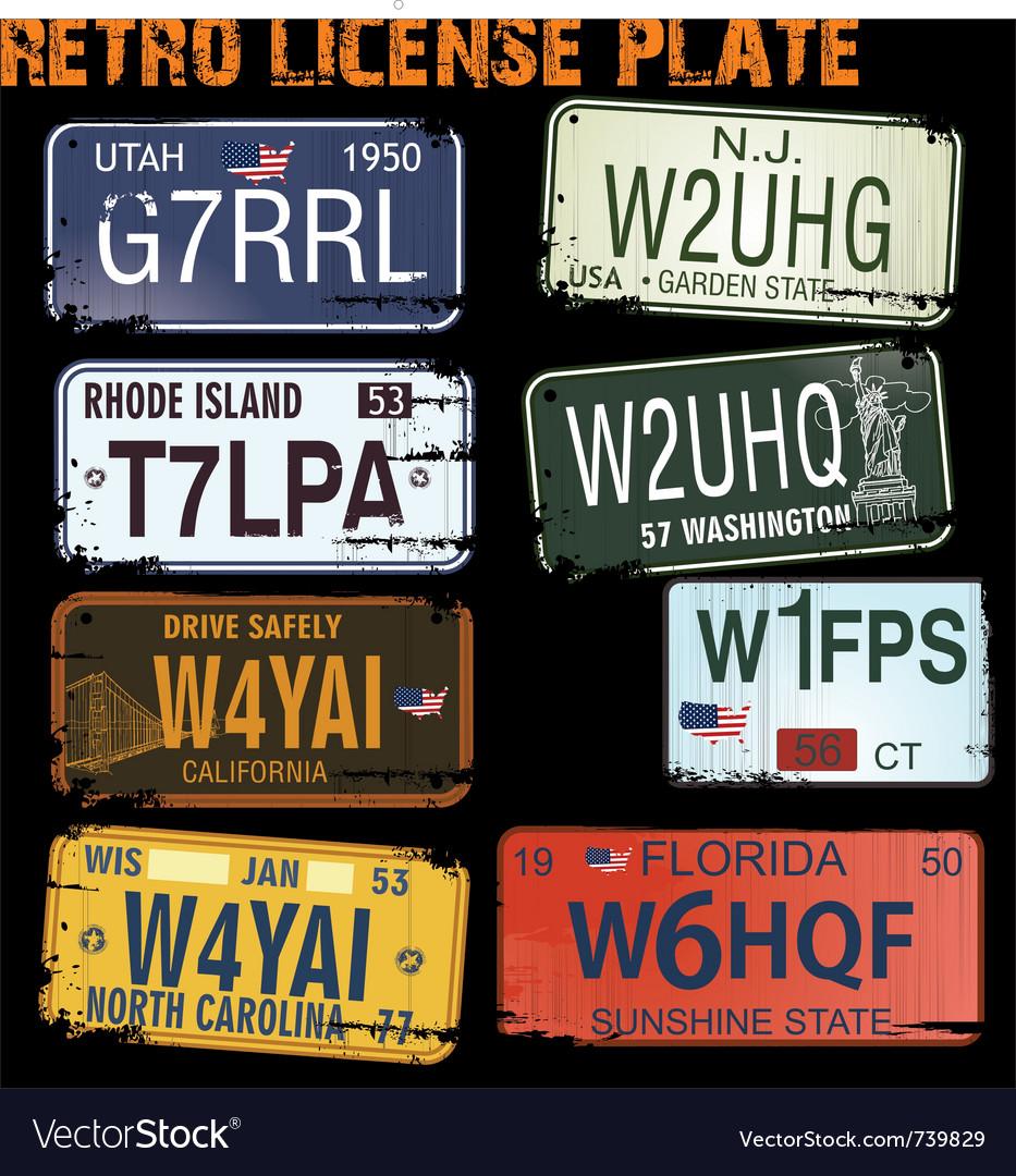 Retro licence plates vector image