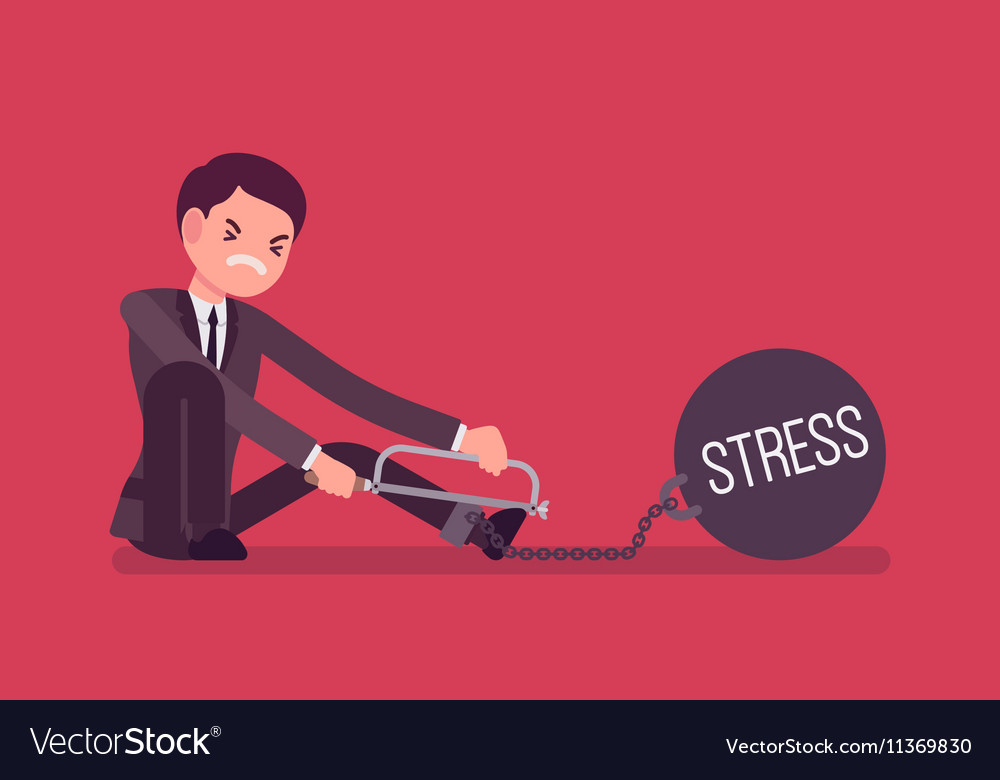 Businessman chained with a metall weight Stress vector image