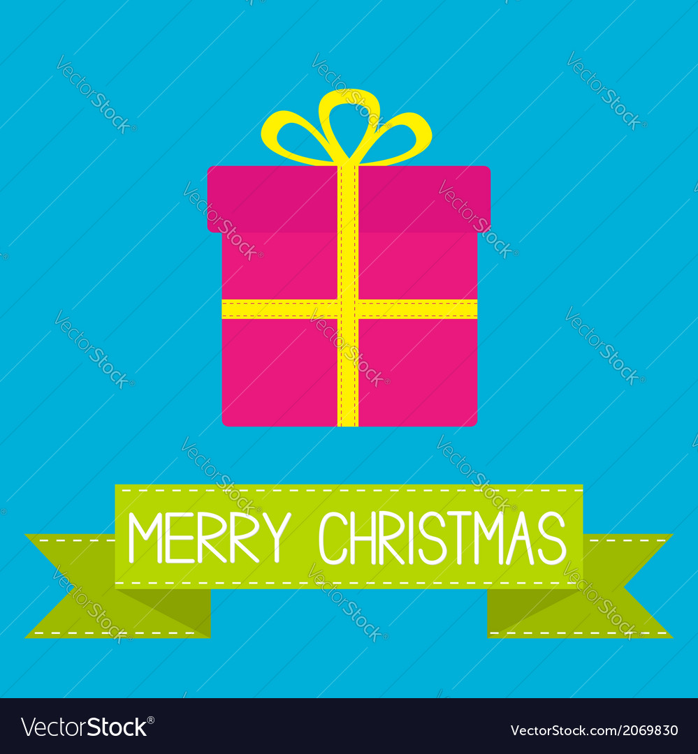 Gift box with ribbon and bow Merry Christmas card vector image