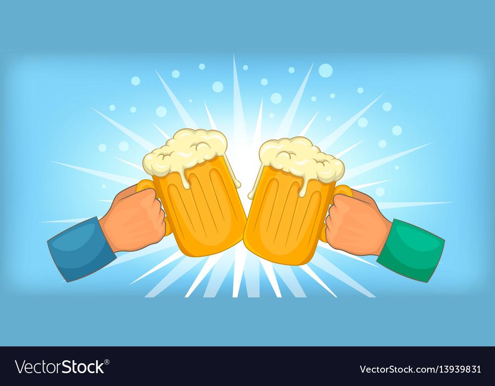 Beer cheers clink horizontal banner cartoon style vector image