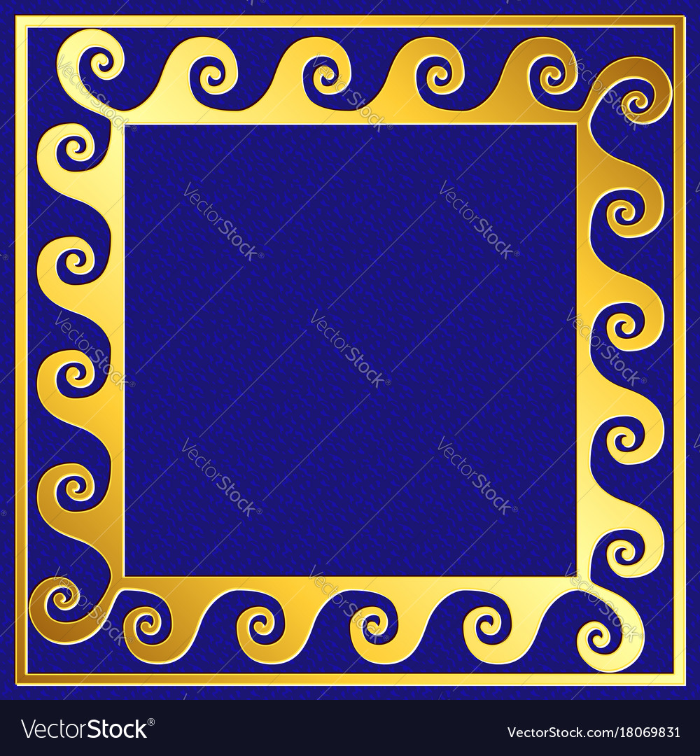 Golden square frame with greek meander pattern vector image jeuxipadfo Gallery