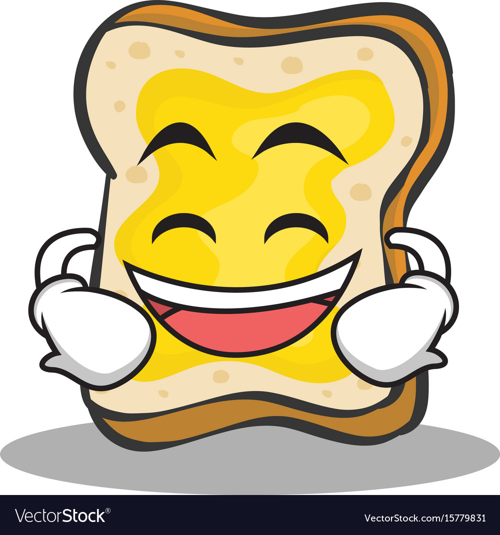 Laughing face bread character cartoon vector image