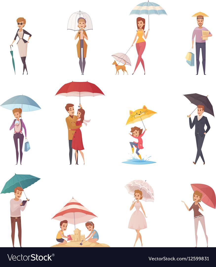 People Standing Under Umbrella vector image