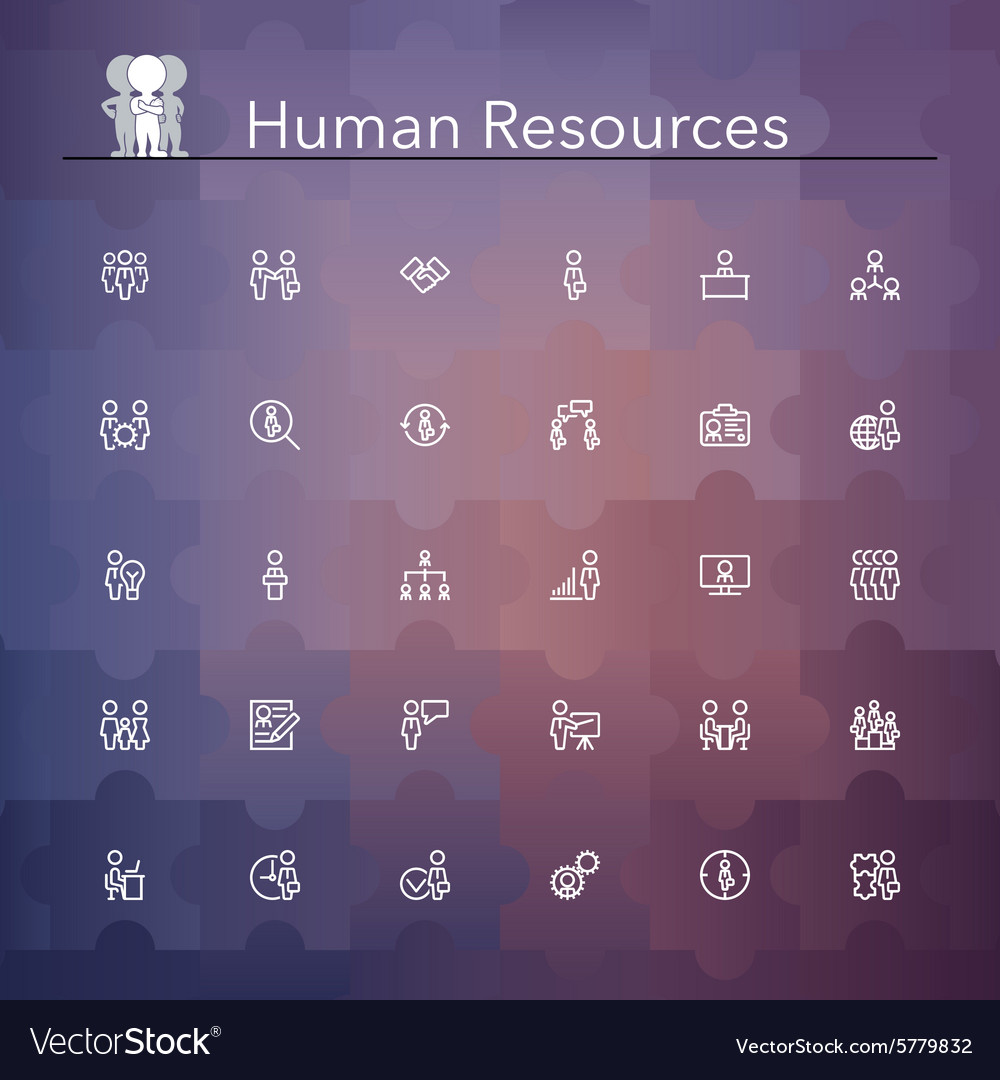 Human Resources Line Icons vector image
