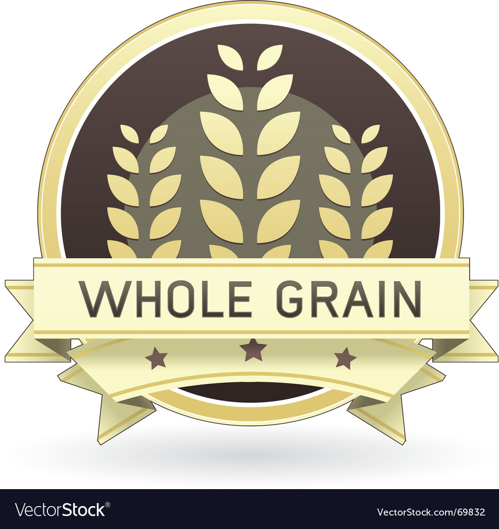 Whole grain food label Vector Image