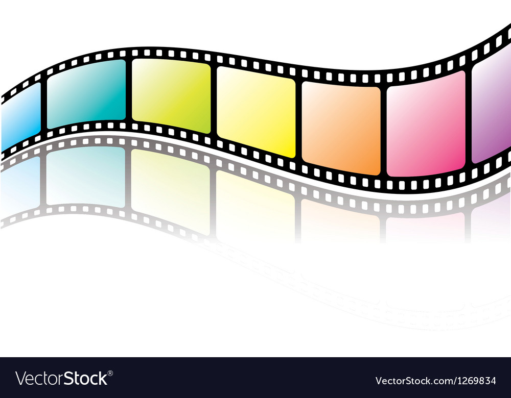 Colorful film roll with reflection vector image