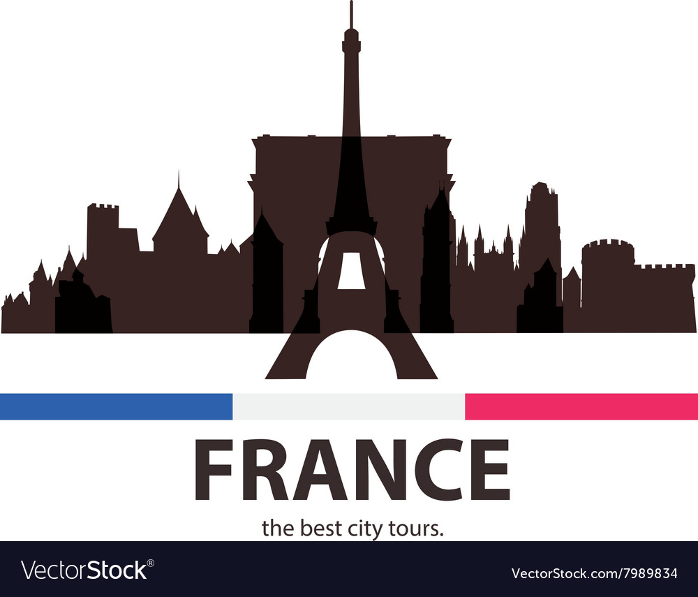 Black Silhouette of old french Architecture vector image