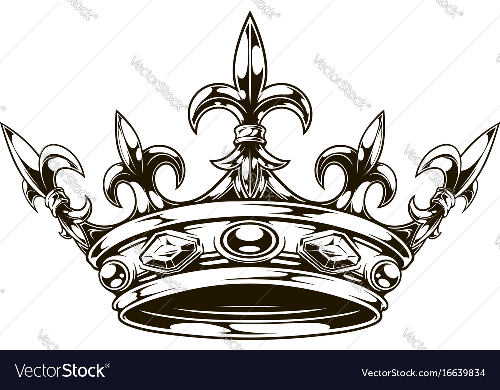 graphic black and white king crown royalty free vector image