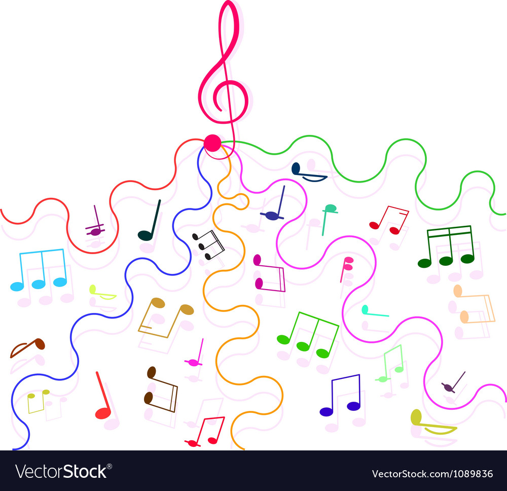 Multicolored musical notes and a treble clef vector image