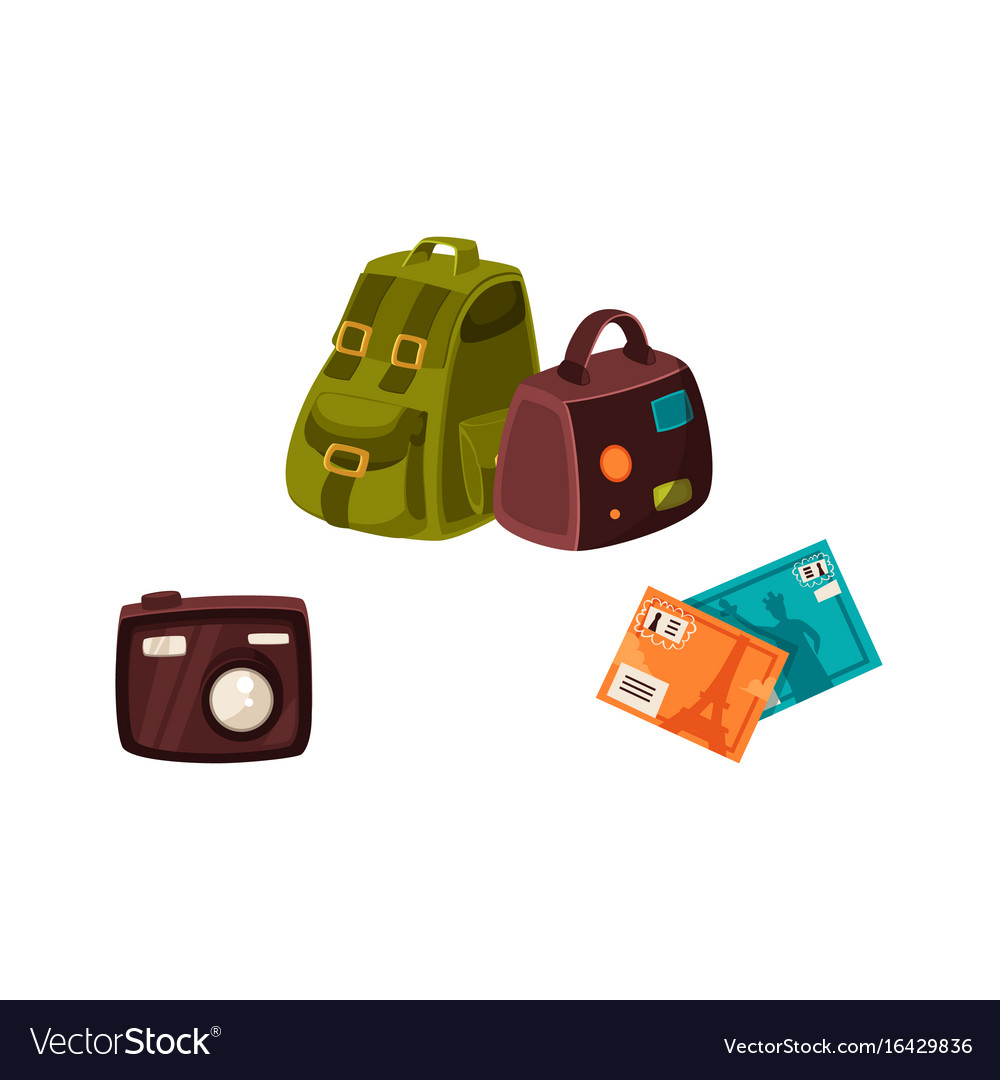 Travel bags digital camera and travel postcards vector image