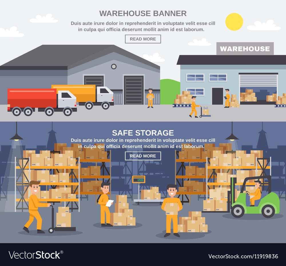Warehouse Flat Horizontal Banners vector image