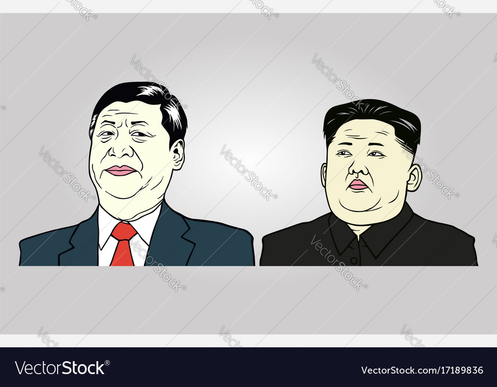 Xi jinping and kim jong-un editorial vector image