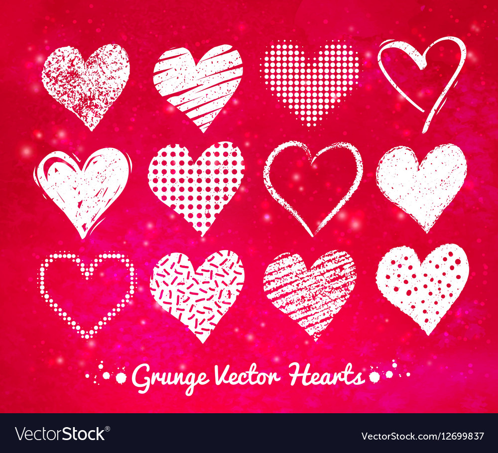 Collections of white grunge Valentine hearts vector image