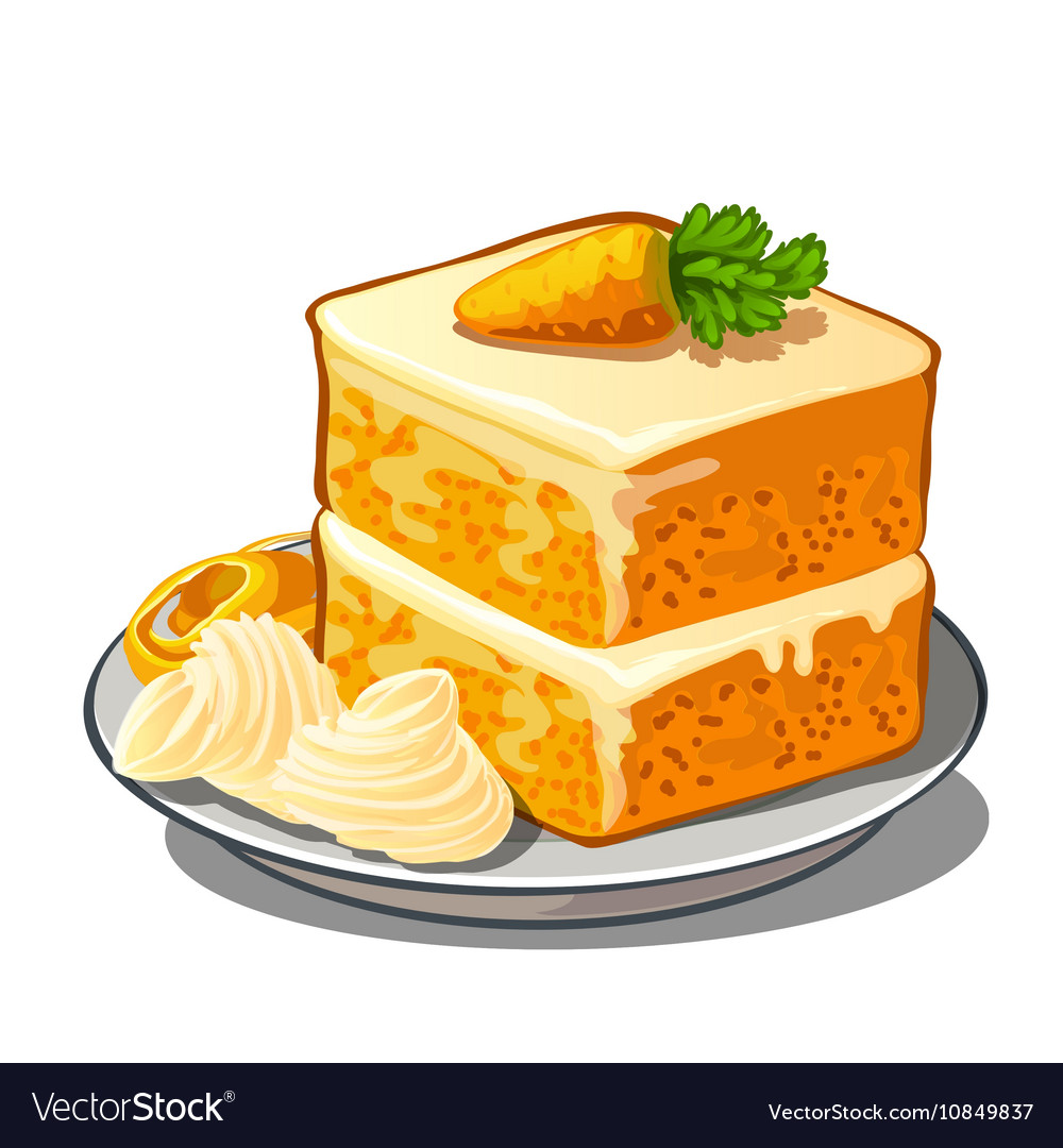 Delicious slice of carrot cake on plate vector image  sc 1 st  VectorStock & Delicious slice of carrot cake on plate Royalty Free Vector