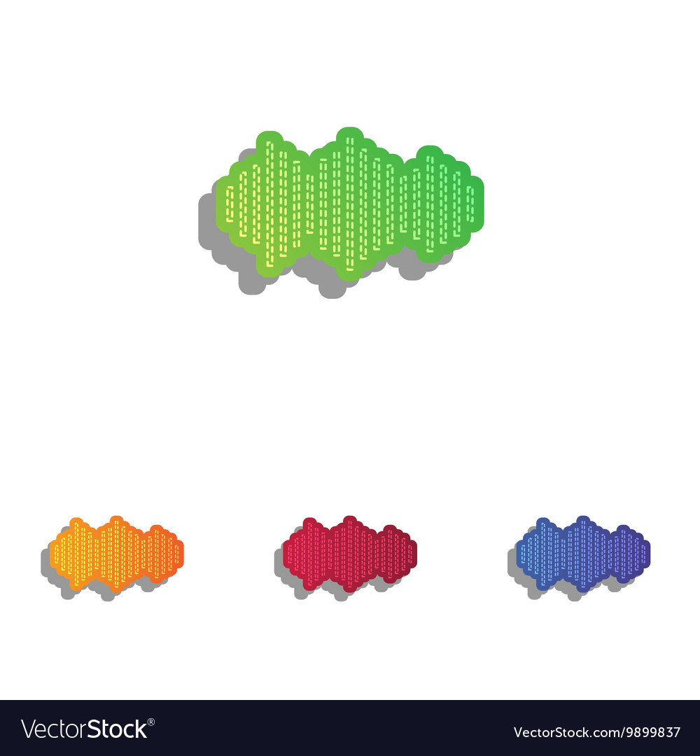 Sound waves icon Colorfull applique icons set vector image