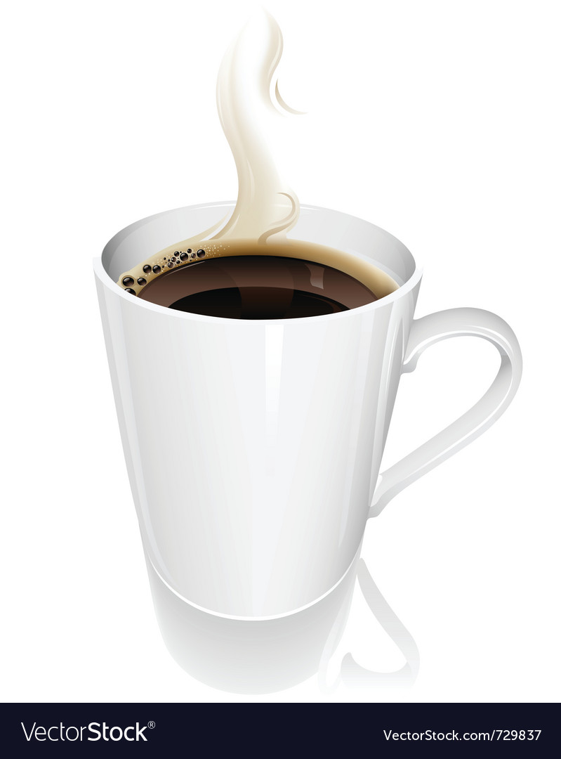 Steaming hot coffee vector image