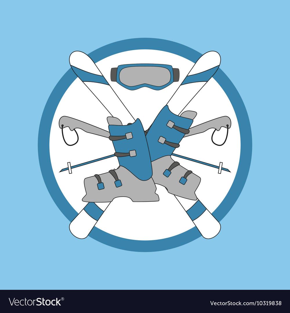 Emblem skiing - ski and sticks shoes mask vector image