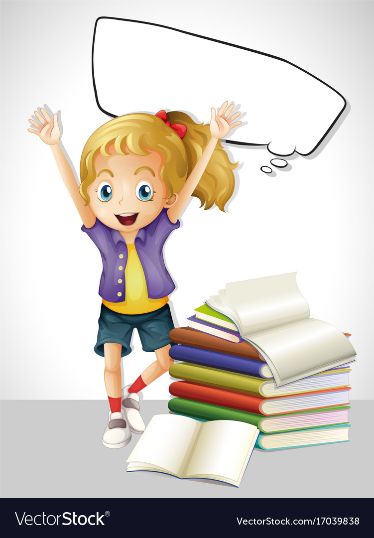 Girl with books and speech bubble vector image