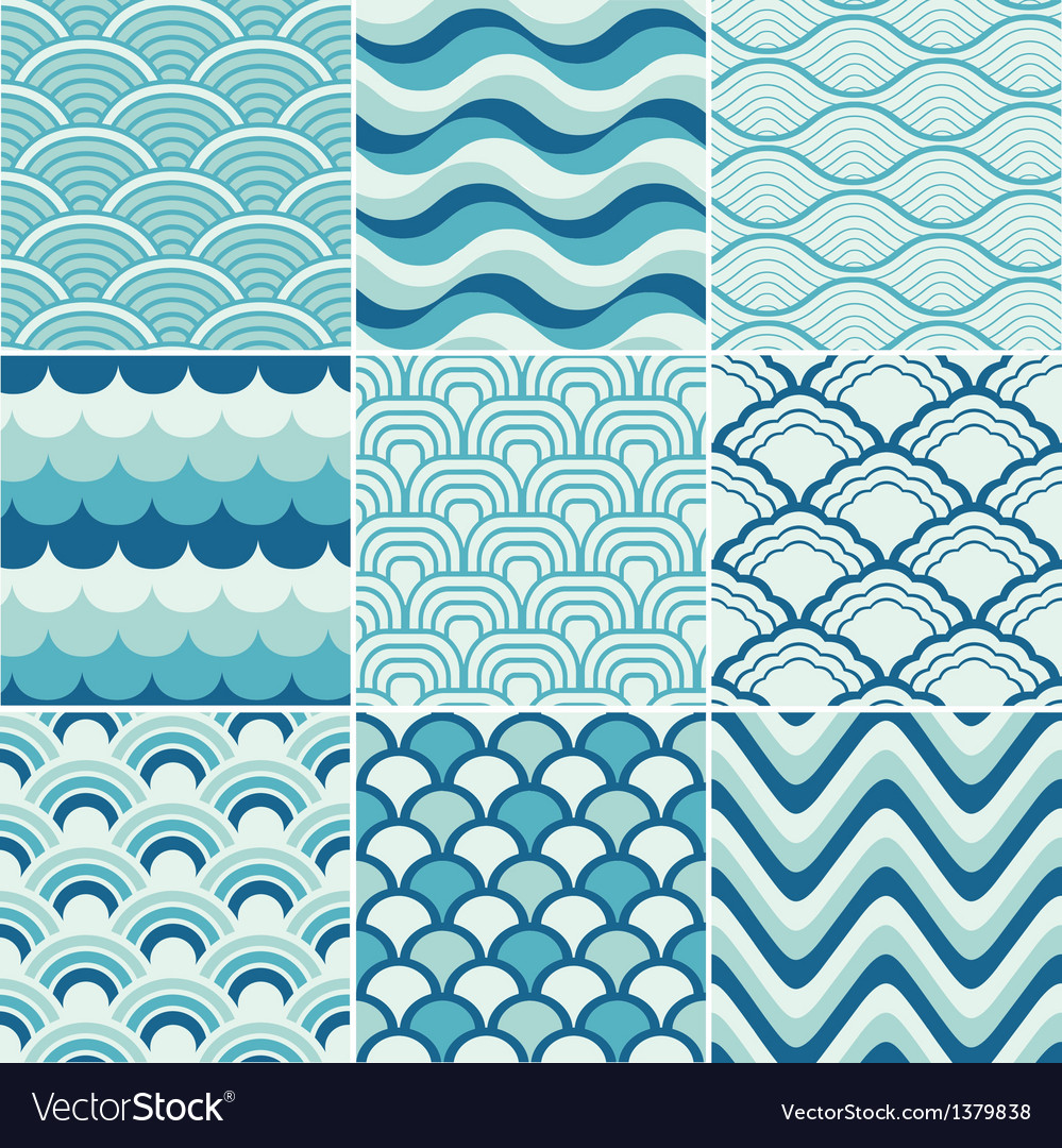 Seamless ocean wave pattern Royalty Free Vector Image
