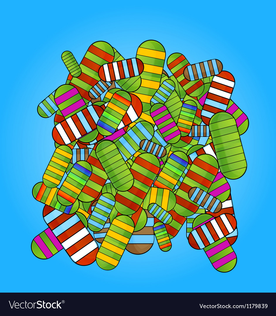 Glass colored medic pills vitamins set vector image