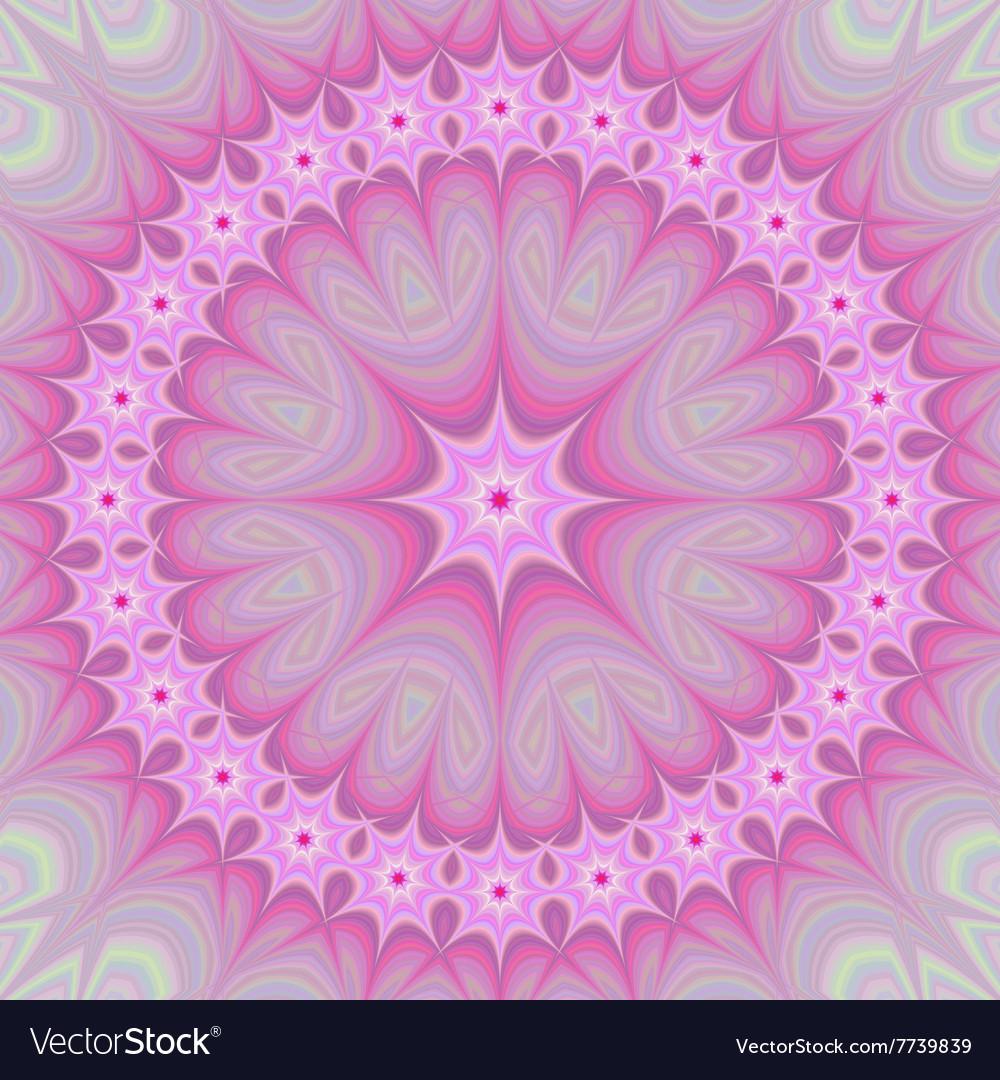 Pink girly mandala fractal design background vector image