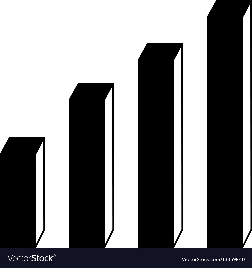 3d bar chart flat icon vector image