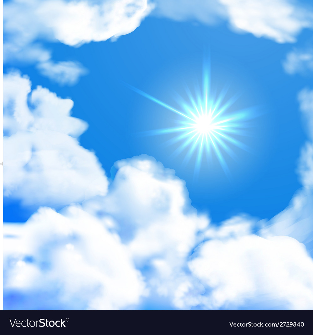 Bright sky whit sun and clouds vector image