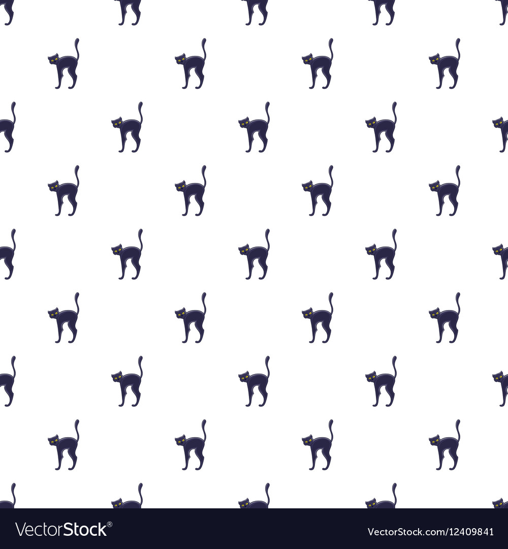 Black cat pattern cartoon style vector image