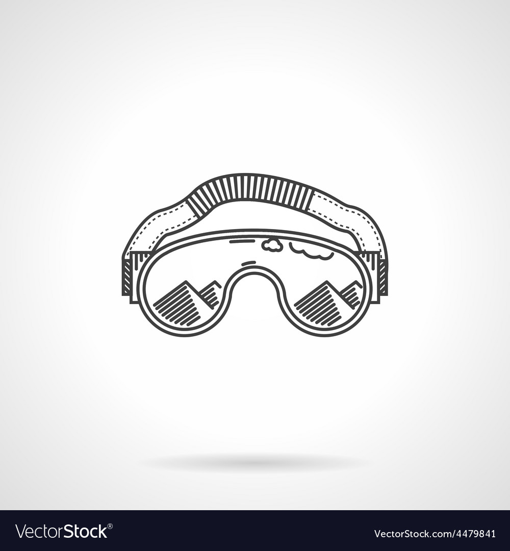 Black line ski glasses vector image