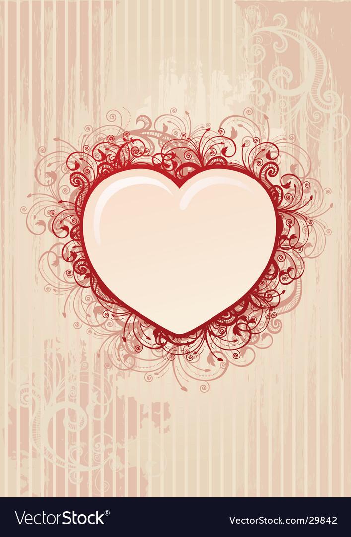 Floral heart frame vector image