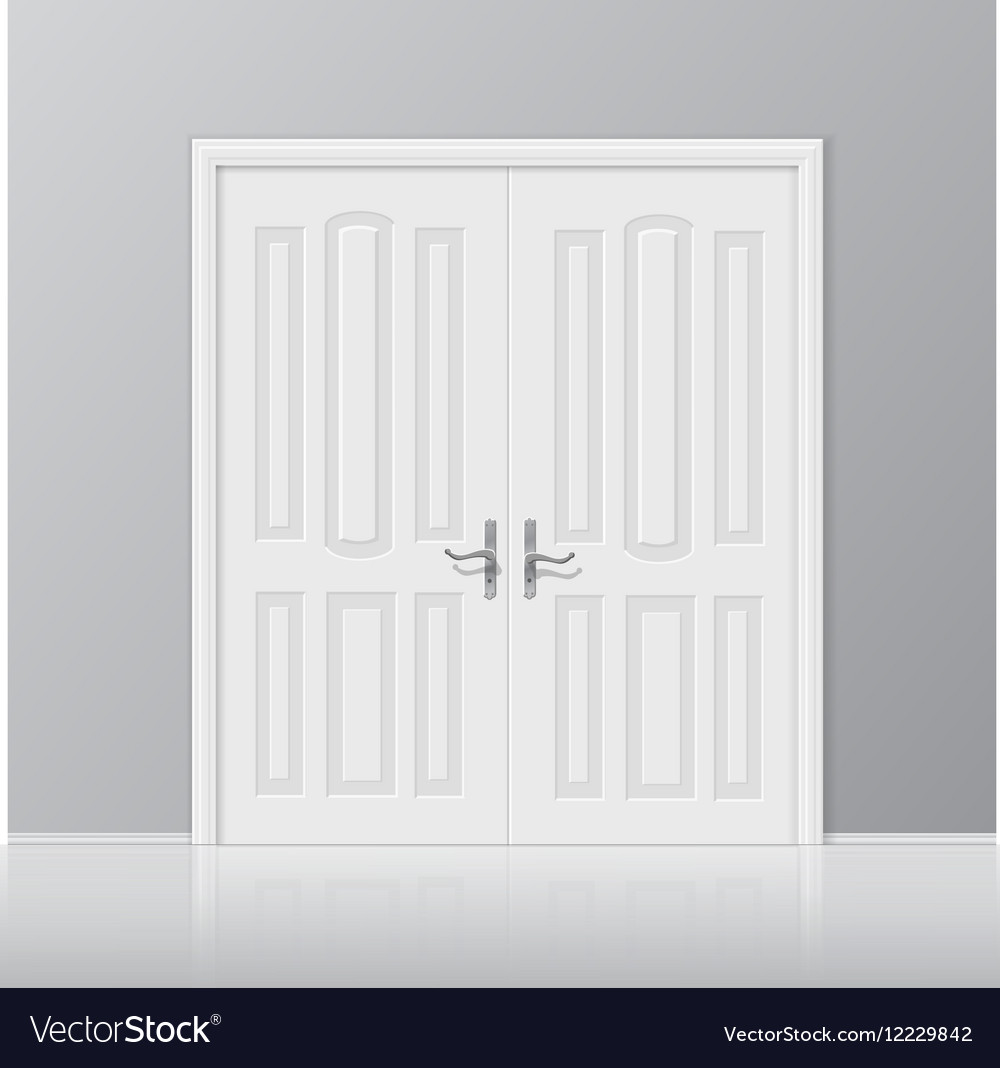 white closed door with frame isolated vector image - Door With Frame