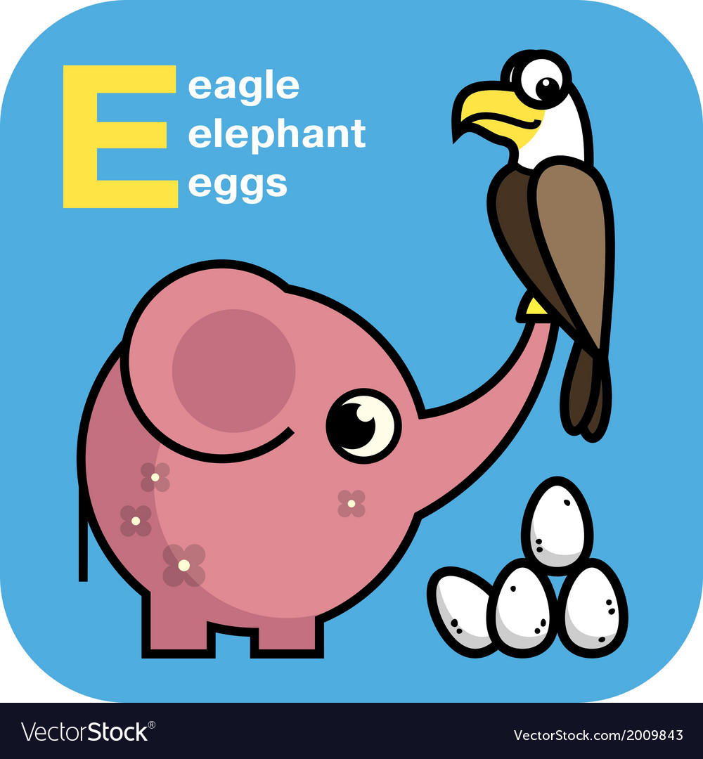 abc eagle elephant eggs royalty free vector image