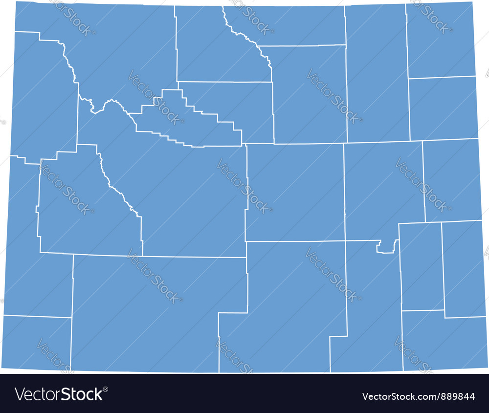 State Map Of Wyoming By Counties Royalty Free Vector Image - Wy state map
