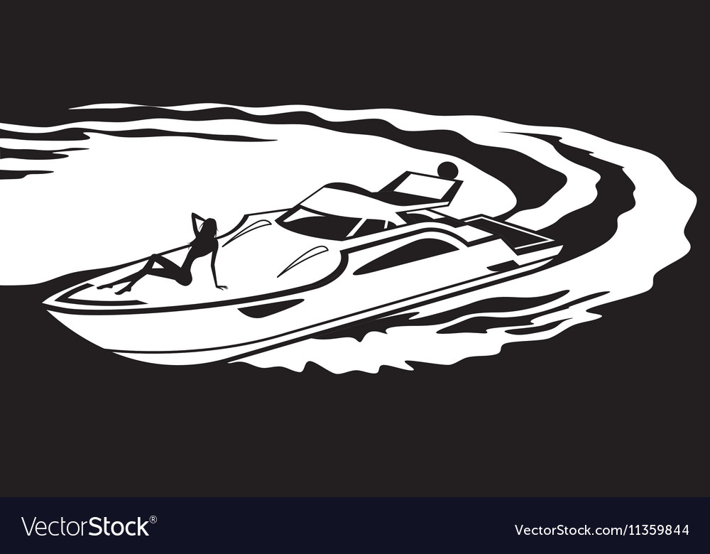 Yacht with fashion model on deck vector image
