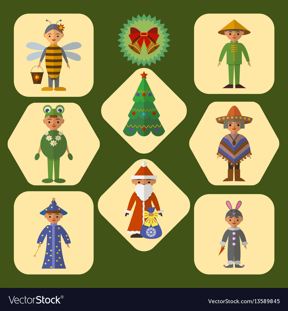 Set of cute kids in masquerade costumes vector image