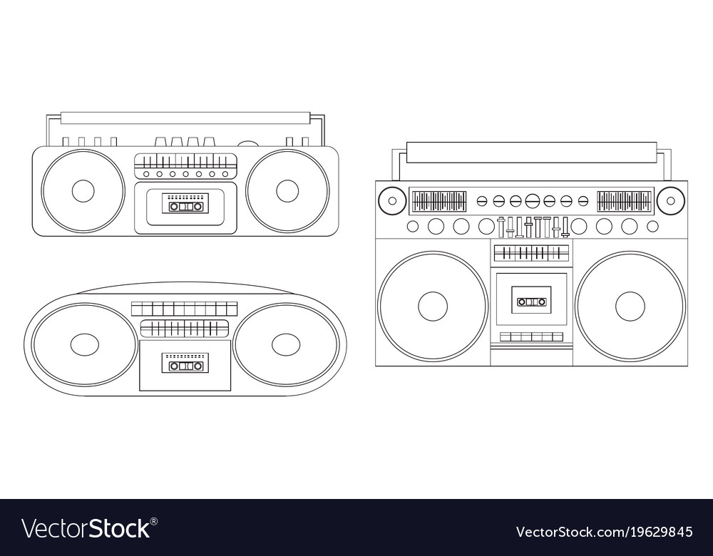 Set of linear of audio tape vector image