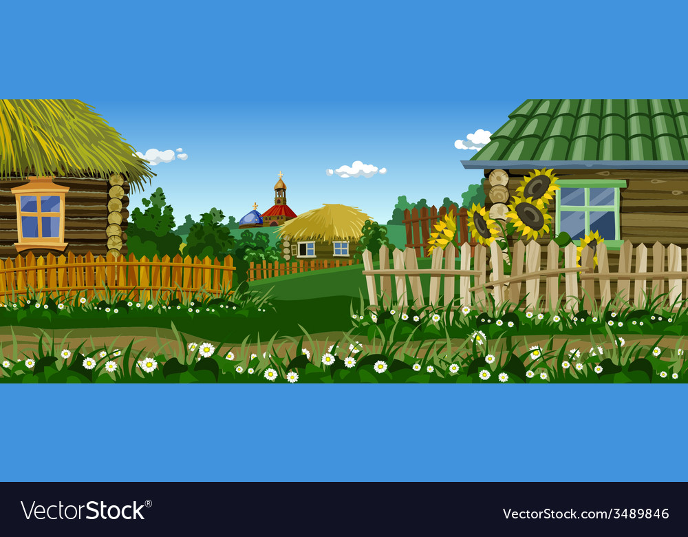 Cartoon village street with houses and church vector image