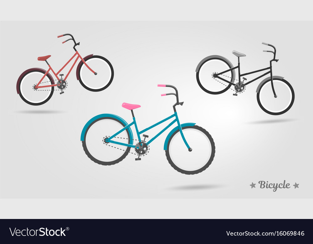 Set realistic bicycles modern style ideal vector image